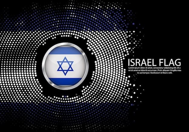 Background halftone gradient template of israel flag.