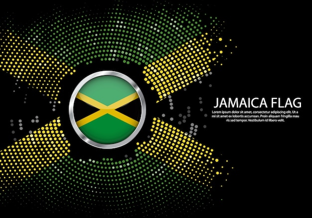 Background halftone gradient template of jamaica flag.