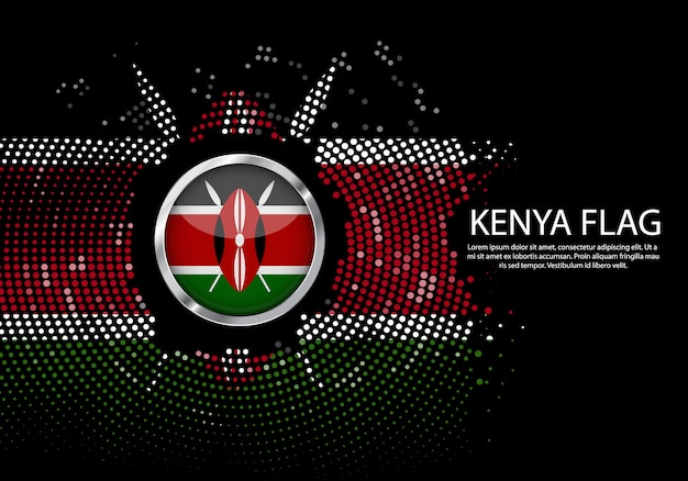 Background halftone gradient template of kenya flag.