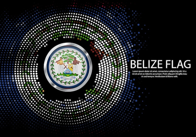 Background halftone gradient template or led neon light on round dots style of belize