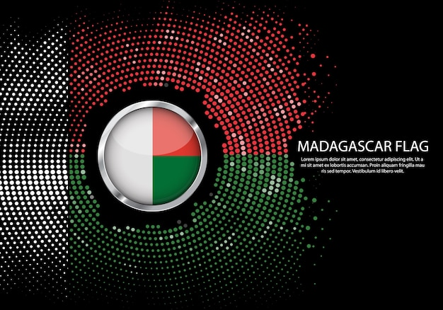 Background halftone gradient template of madagascar flag.