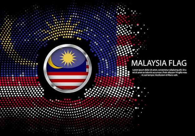 Background halftone gradient template of malaysia flag.