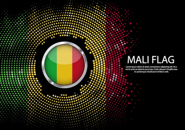 Background halftone gradient template of mali flag.