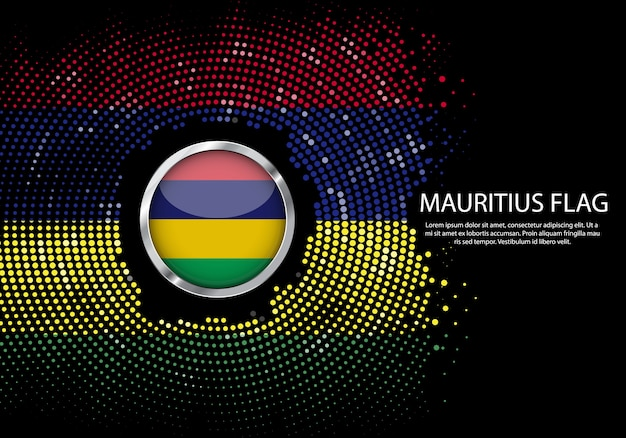Background halftone gradient template of mauritius flag.