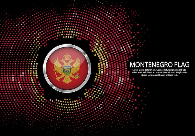 Background halftone gradient template of montenegro flag.