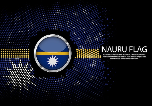Background halftone gradient template of nauru flag.