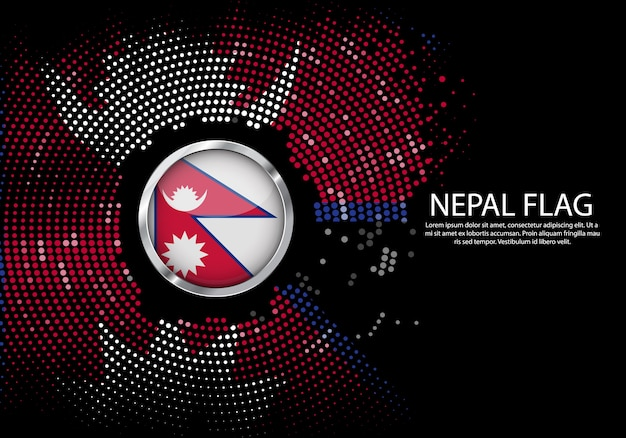 Background halftone gradient template of nepal flag.