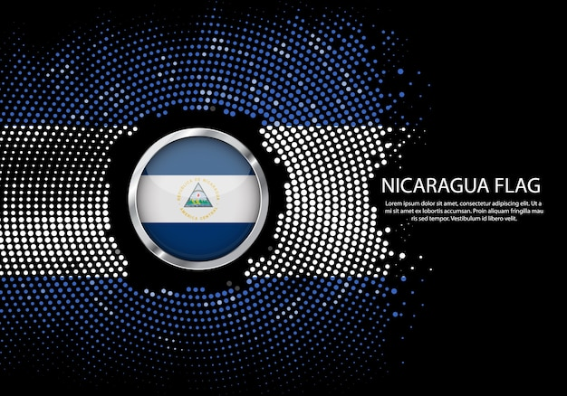 Background halftone gradient template of nicaragua flag.