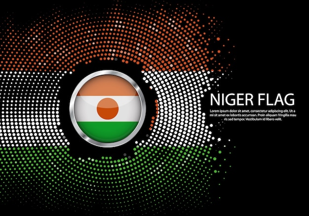 Background halftone gradient template of niger flag.