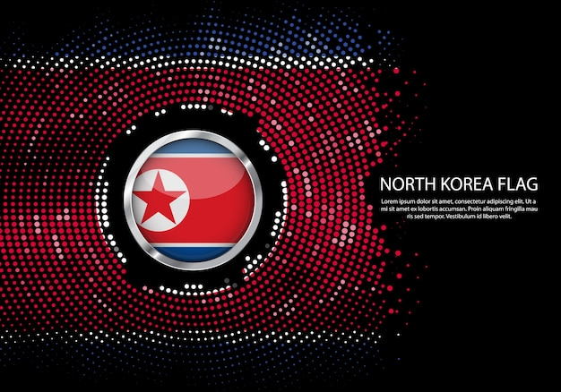 Background halftone gradient template of north korea flag.