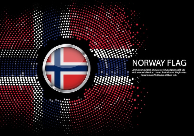 Background halftone gradient template of norway flag