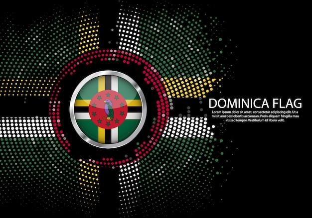 背景ドミニカ国旗のハーフトーン勾配テンプレート。