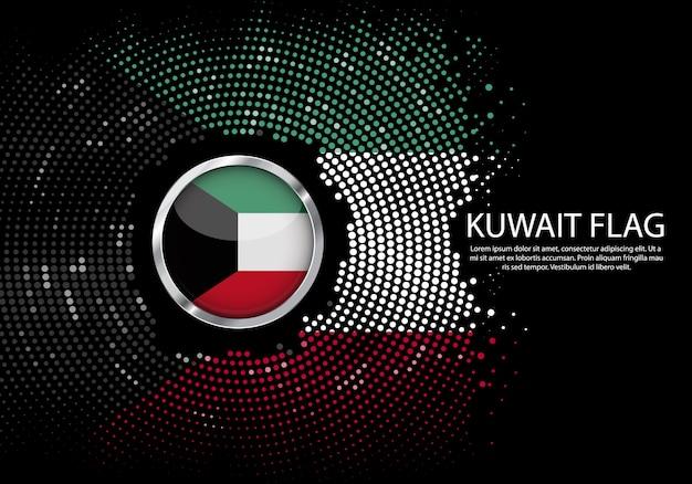 背景クウェート国旗のハーフトーン勾配テンプレート。