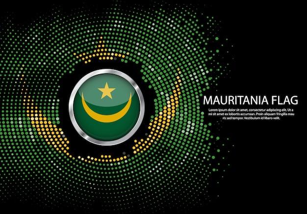 背景モーリタニアの旗のハーフトーングラデーションテンプレート。