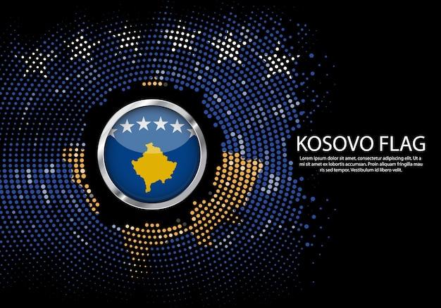 背景コソボの旗のハーフトーングラデーションテンプレート。