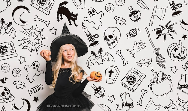 Sfondo halloween doodles in bianco e nero