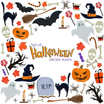 Background of halloween icons with round frame. template for packaging, cards, posters, menu.