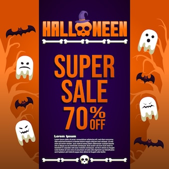 Background halloween sale trick or treat super sale template banner post