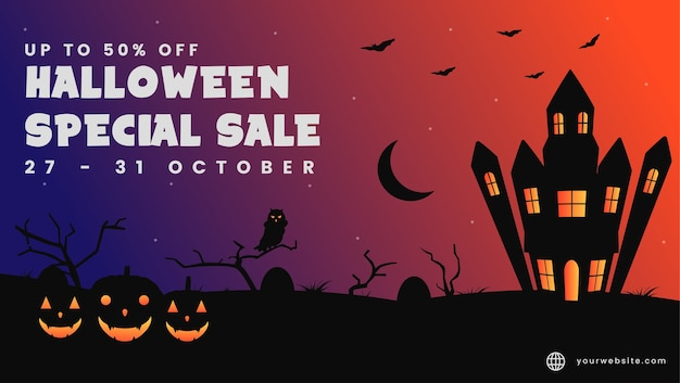 Background halloween special sale template for website.