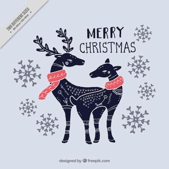 Sfondo di disegnata a mano bella renne di natale
