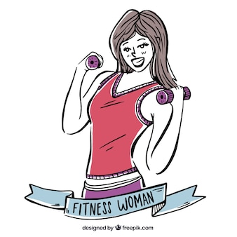 Background of hand drawn fitness woman