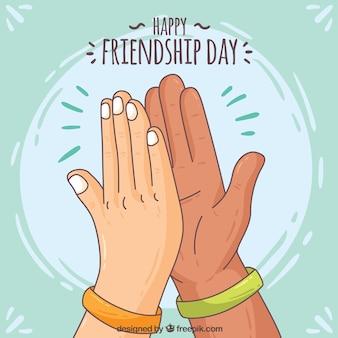 Background of hand drawn handshake hands