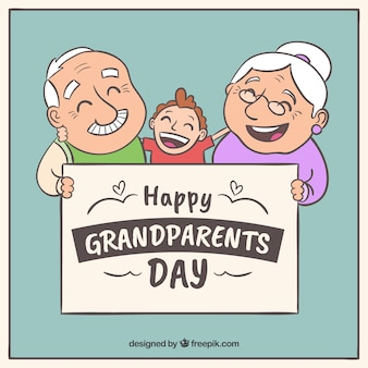 Background of hand drawn happy grandparents with their grandson