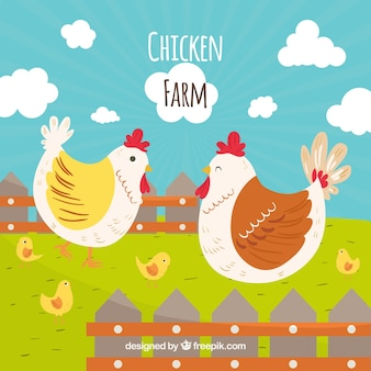 Background of hand drawn hens on the farm