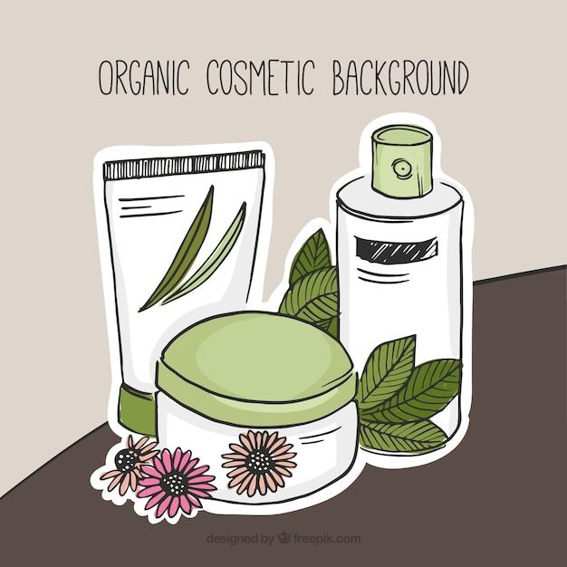 Sfondo di disegnata a mano cosmetici naturali