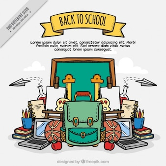 Background of hand-drawn school accessories