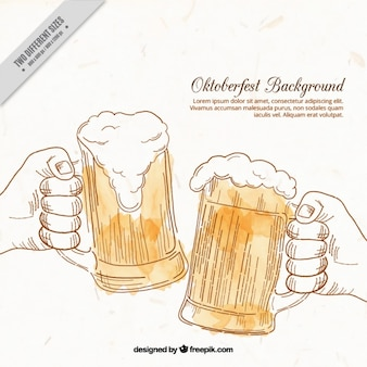 Background of hand drawn toast with beer