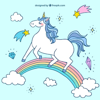 Background of a hand drawn unicorn in a rainbow