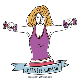 Background of hand-drawn woman with weights