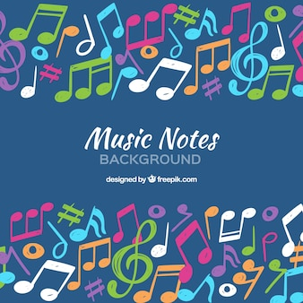 Background of hand painted colorful musical notes