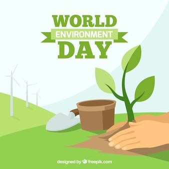 Background of hands with plant for world environment day