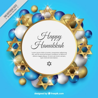 Background for hanukkah with golden stars and balls