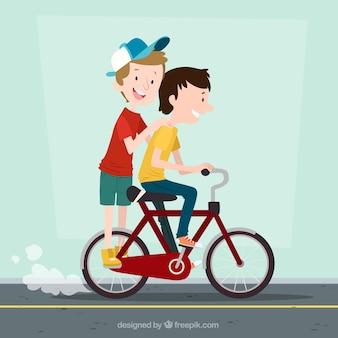 Background of happy children on bike