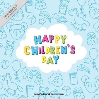 Sfondo di giorno dei bambini felici con disegni