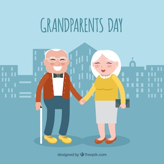Background of happy grandparents in the city