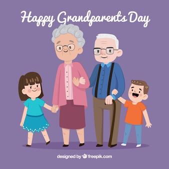 Background of happy grandparents with their grandchildren
