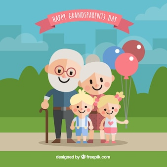 Background of happy grandparents with their grandchildren