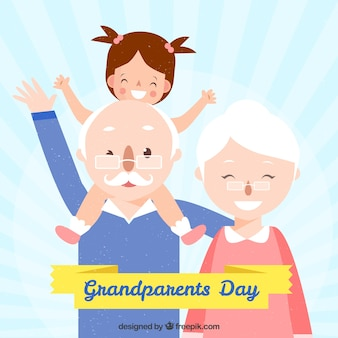 Background of happy grandparents with their granddaughter
