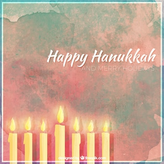Background of happy hanukkah with candles in watercolor