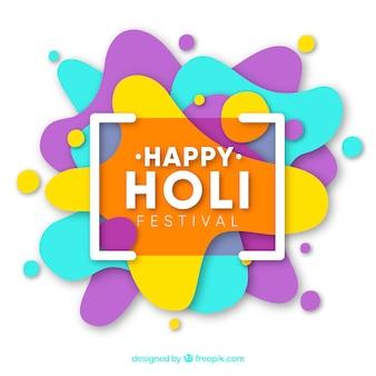 Background happy holi in flat design