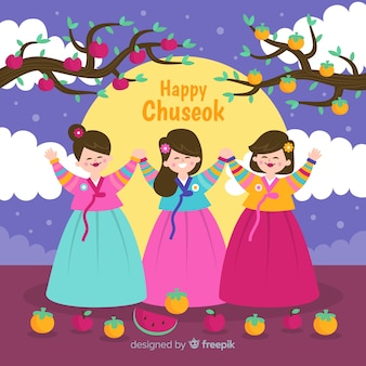 Background of happy korean chuseok