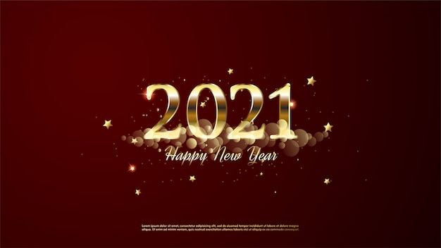 Background of  happy new year golden color with golden clouds and gold stars.