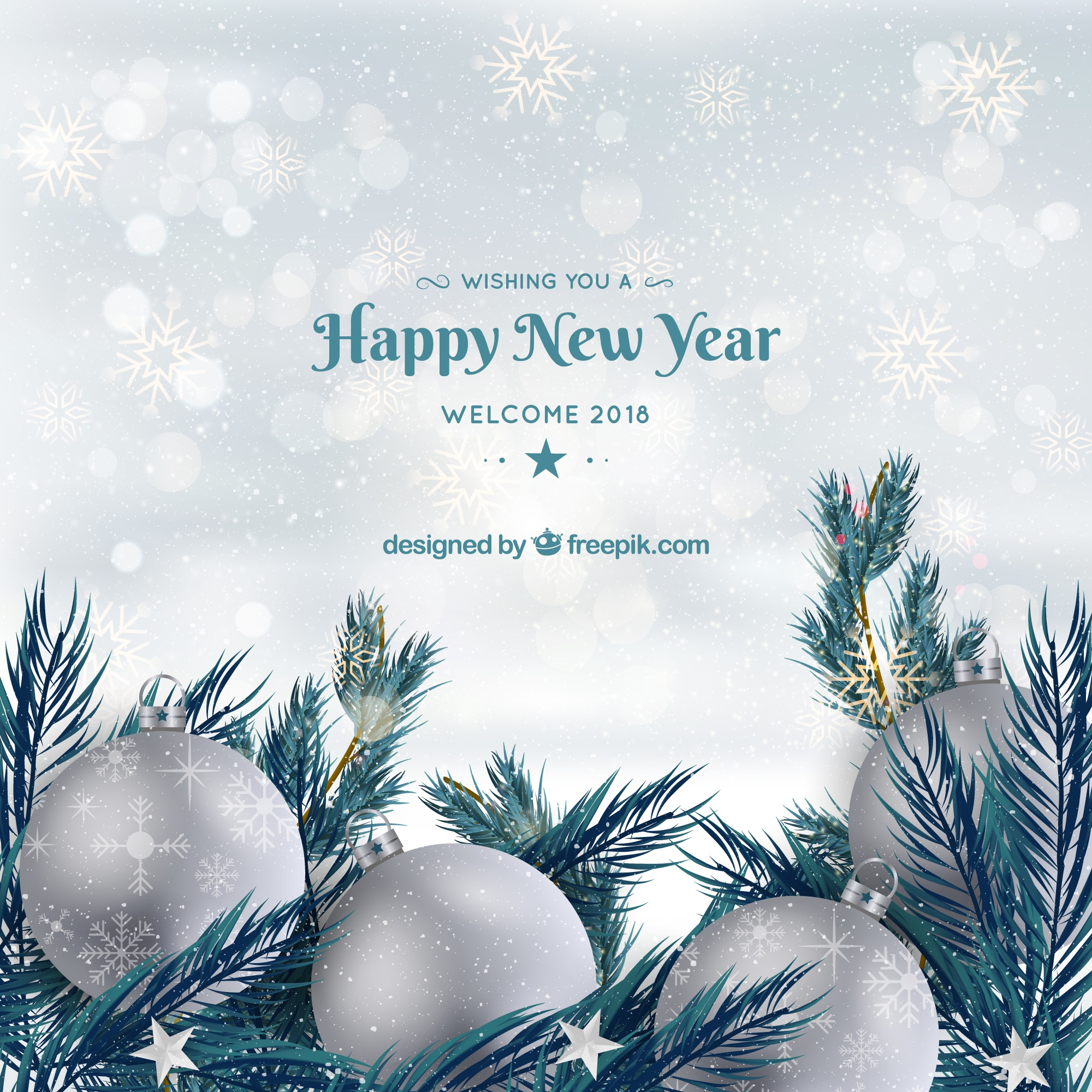 Background happy new year with silver baubles