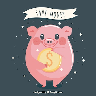 Background of happy piggy bank with a coin