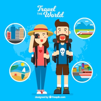 Background of happy travelers around the world