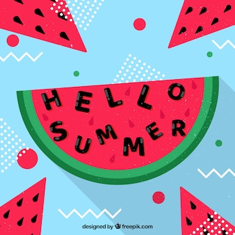 Background of hello summer with delicious watermelons